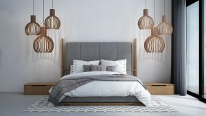 A modern-tropical-bedroom-interior-design-white-texture-wall-background